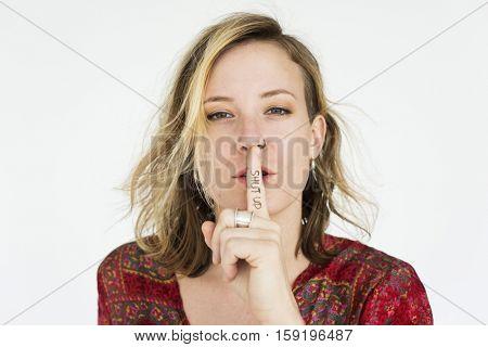 Woman Secret Quiet Shut Up Concept