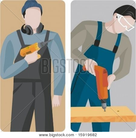 A set of 2 vector illustrations of carpenters using drills.