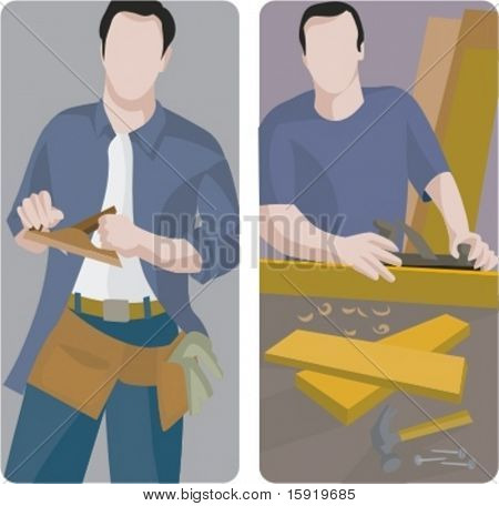 A set of 2 vector illustrations of workers planing wooden planks.
