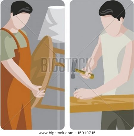 A set of 2 vector illustrations of carpenters. 1) Carpenter holding a table. 2) Carpenter using a hammer.