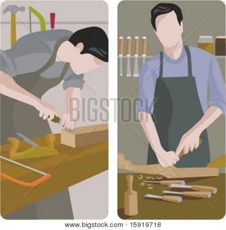 A set of 2 vector illustrations of carpenters planing planks.