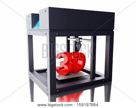 3D Illustration. Three dimensional printer. New technology concept. Isolated white background.