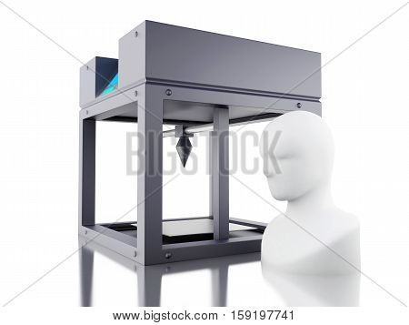 3D Illustration. Three dimensional printer prints model of human head. New technology concept. Isolated white background.
