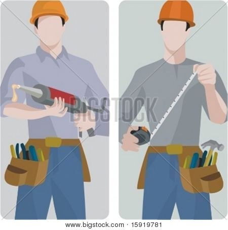 A set of 2 vector illustrations of builders. 1) Builder using a silicon pistol. 2) Builder using a tape-measure.