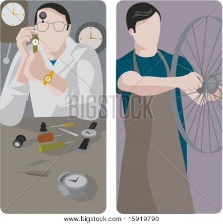 A set of 2 vector illustrations of workers. 1) Watchmaker working on a watch. 2) Worker repairing a bicycle wheel rim.