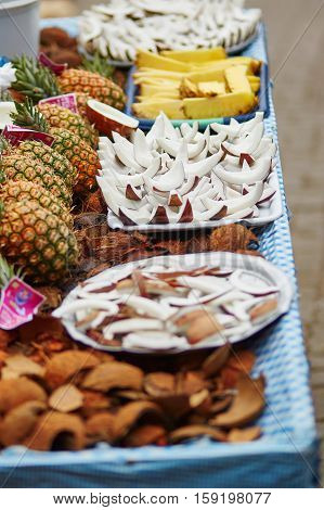 Selection Of Fresh Coconut Snacks On A Traditional Moroccan Market