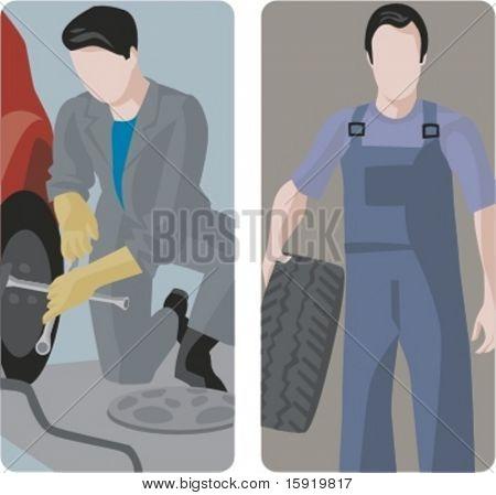 Um conjunto de 2 ilustrações vetoriais de mecânica auto mudança de pneus.