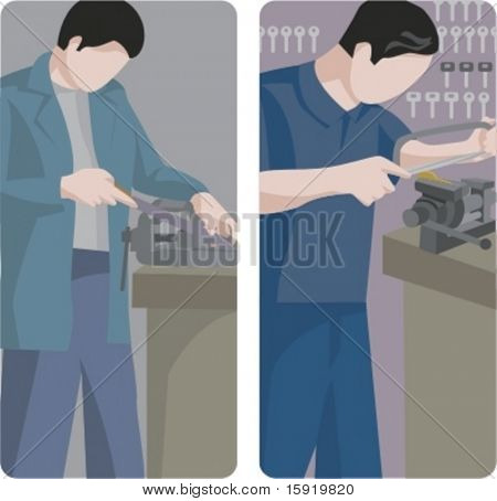 A set of 2 vector illustrations of workers. 1) Worker using a vise press. 2) Locksmith at work.