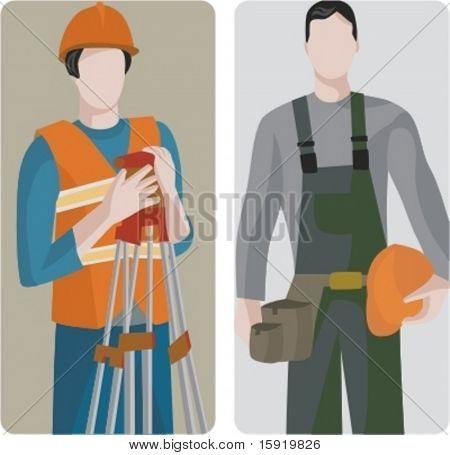 A set of 2 vector illustrations of builders. 1) Surveying development. 2) Builder holding hard head.