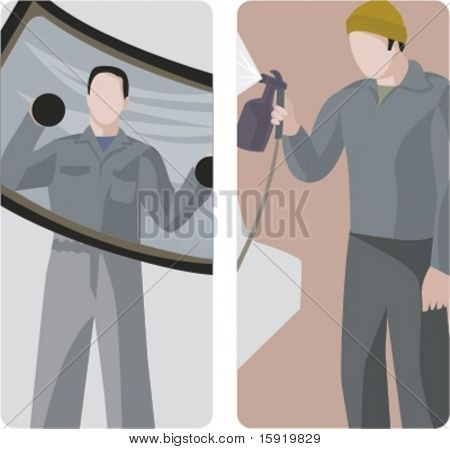 A set of 2 vector illustrations of workers. 1) Auto mechanic holding a front car window. 2) Worker using a sprayer.