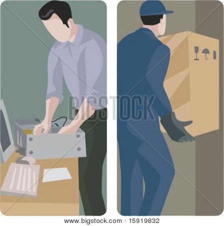 A set of 2 vector illustrations of worker. 1) Computer technician installing a computer system. 2) Delivery man holding a box.