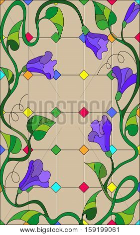 Illustration in stained glass style with abstract lilac flowers on a beige background