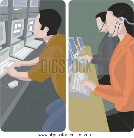 A set of 2 vector illustrations of computer workers.