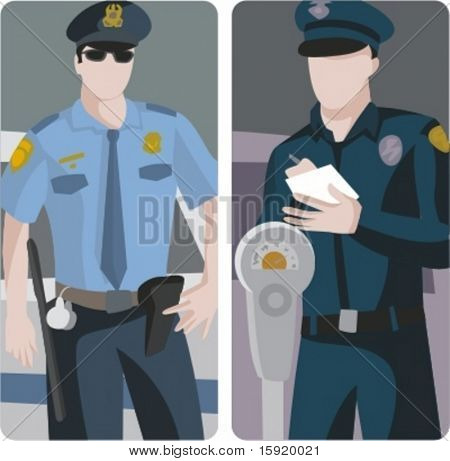 A set of 2 vector illustrations of police officers.