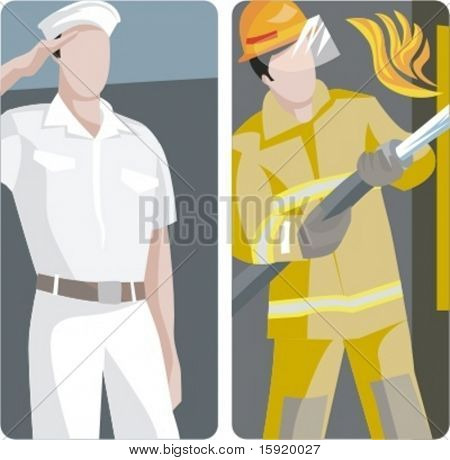 A set of 2 vector worker illustrations. 1) Sailor saluting. 2) Firefighter fighting a fire.