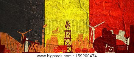 Energy and Power icons set. Header banner with Belgium flag. Sustainable energy generation and heavy industry. Concrete textured