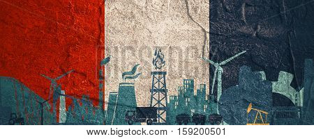 Energy and Power icons set. Header banner with France flag. Sustainable energy generation and heavy industry. Concrete textured