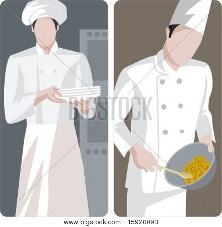 Un conjunto de 2 ilustraciones vectoriales de chefs.