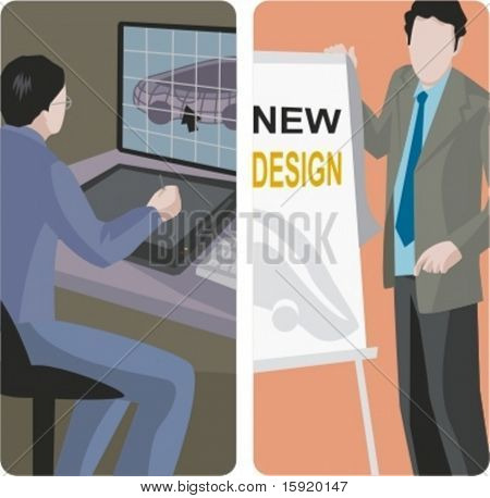 A set of 2 vector illustrations. 1) graphic designer using a tablet. 2) Advertisement designer.