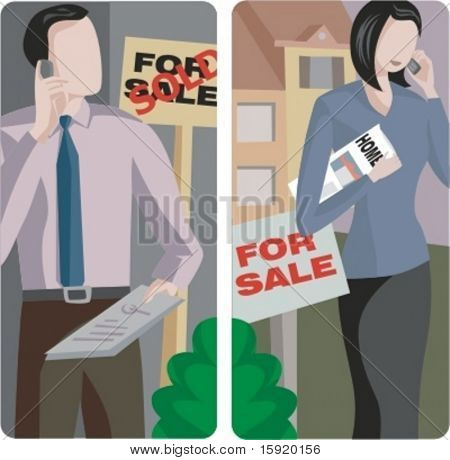 A set of 2 vector illustrations of sale brokers