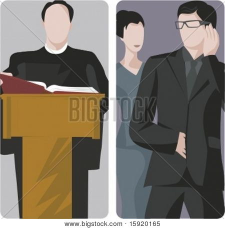 A set of 2 vector illustrations. 1) Lecturer or preacher. 2) Bodyguard.
