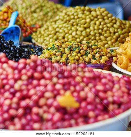 Pickled Olives On A Traditional Moroccan Market