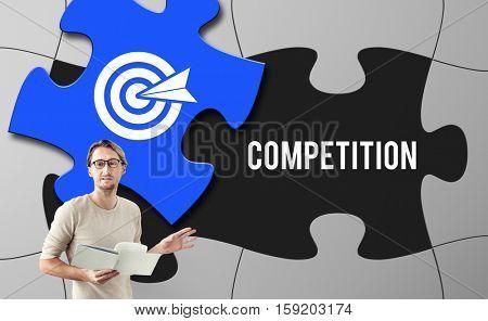 Achievement Success Goals Target Jigsaw Puzzle Concept