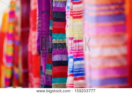 Colorful Fabrics And Carpets For Sale In Essaouira