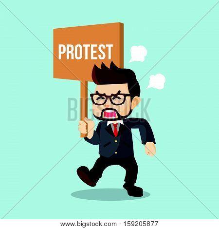 businessman holding sign protest eps10 vector illustration design