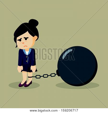 Business woman chained with big ball illustration design
