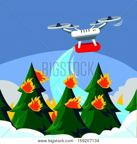 Extinguish fire with drone eps10 vector illustration design