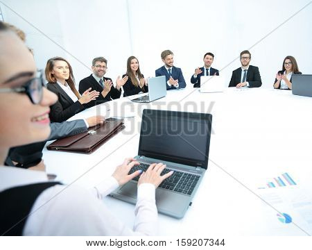 business people listening to presentation at seminar