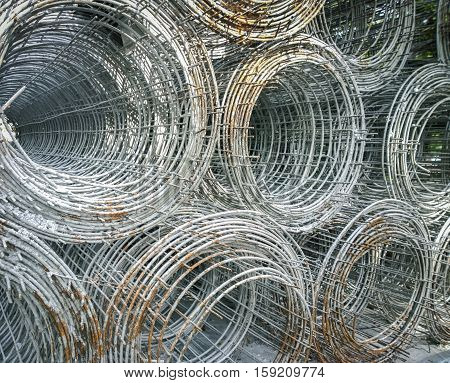 Iron wire fence texture in a warehouse, Selective focus and close up
