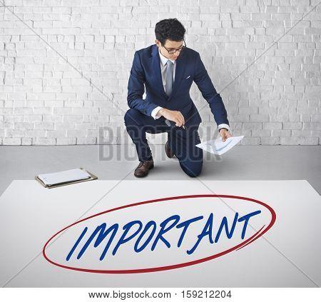 Important Prioritize Urgent Focus Issues Work Concept