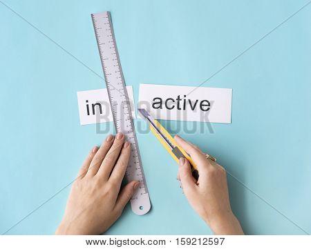 Inactive Unavailable Hand Cut Words Split Concept