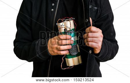 Dangerous Terrorist In Black Jacket With Dynamite Bomb In Hand