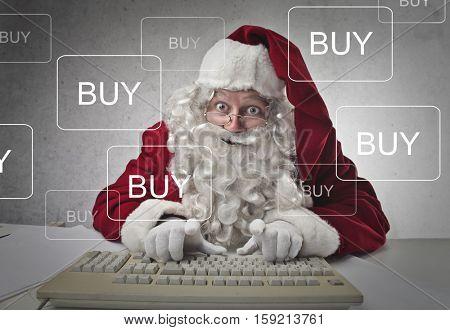 Santa buying stuff online