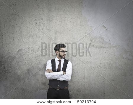 Guy with glasses thinking