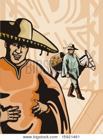 Western Latino Cowboys Background Series.