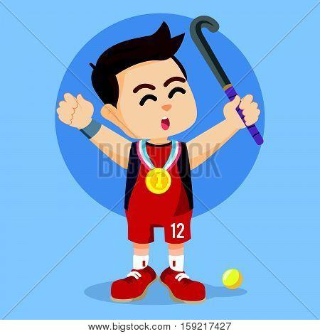 field hockey player winning medal illustration design