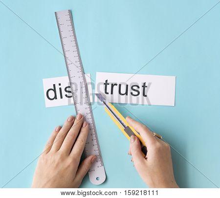Distrust Disbelief Hand Cut Word Split Concept
