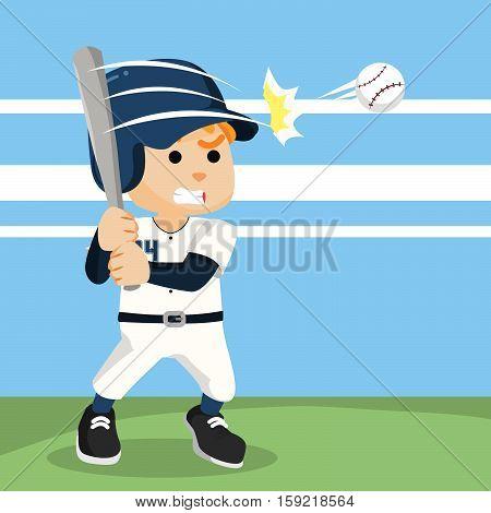 baseball player hitting ball eps10 vector illustration design