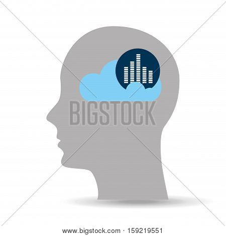 head silhouette cloud sound amplifier music vector illustration eps 10