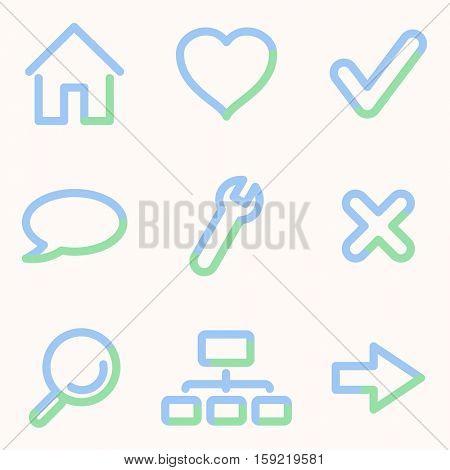 Web icons, light blue contour