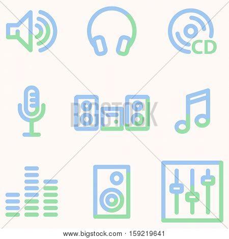 Sound icons, light blue contour
