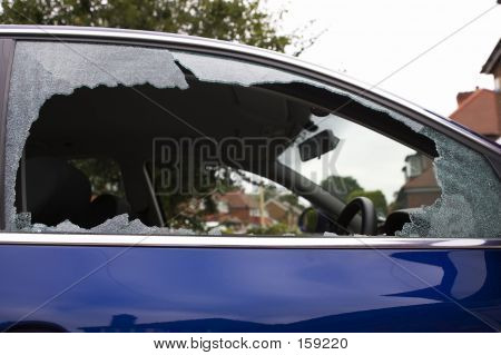 Smashed Safety Glass In A Car Door