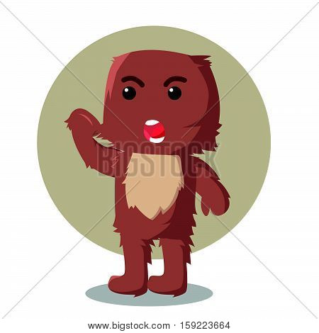 furry monster angry character eps10 vector illustration design