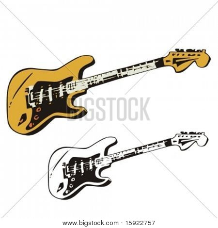 Music Instrument Series. Vector illustration of an electric guitar.