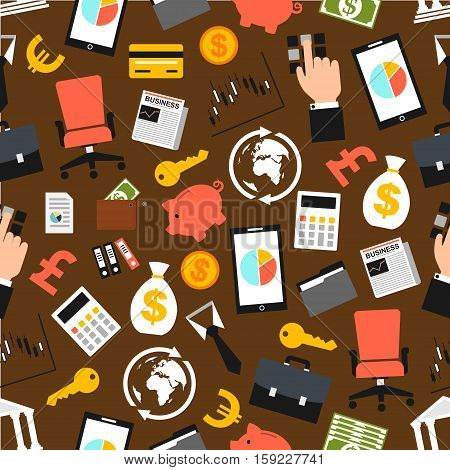 Business pattern. Seamless background of business economics items, businessman accessories flat icons. Vector boss chair, safe box key, money bag, credit card, piggy bank, dollar, euro coins and banknotes, wallet, ATM cash