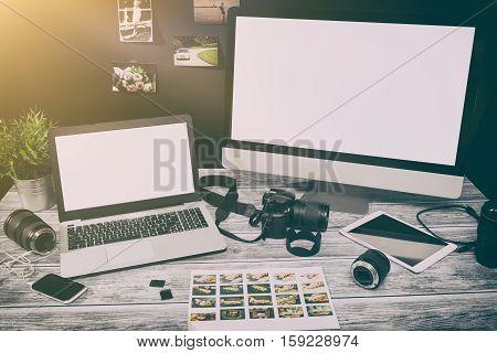 mockup design monitor working desk white space designer screen desktop nobody table concept - stock image